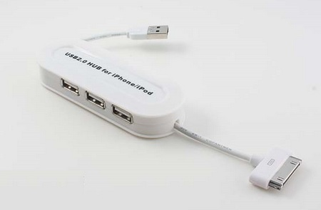Hub USB 3 port Ipod, Hub USB Ipod 2.0, Hub Iphone USB 2.0 3