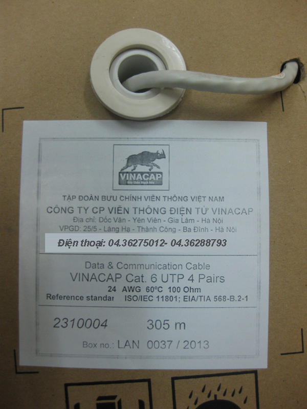 Day CAP MANG VINACAP CAT6, DAY MANG VINACAP CAT6 UTP, CÁP MẠNG VINACAP CAT6 UTP