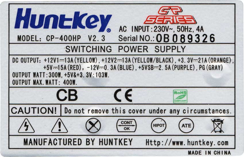 NGUON HUNTKEY 400W CP-400HP, BAN NGUON HUNKEY CP400HP CHINH HANG, PSU HUNTKEY 400W