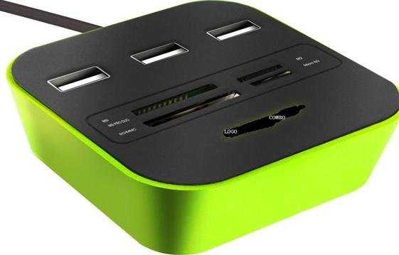 USB HUB 3 PORT CARD READER, HUB USB CARD READER, BAN HUB USB